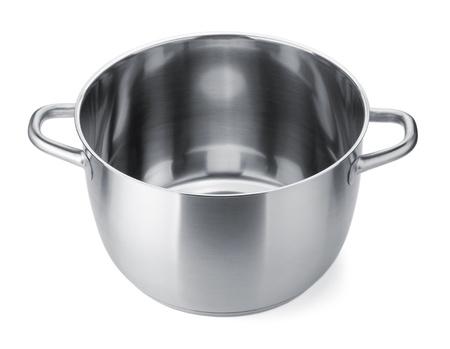 steel pan: Olla de acero inoxidable sin tapa. Aisladas sobre fondo blanco