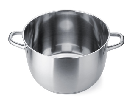 stainless steel kitchen: Stainless steel pot without cover. Isolated on white background Stock Photo