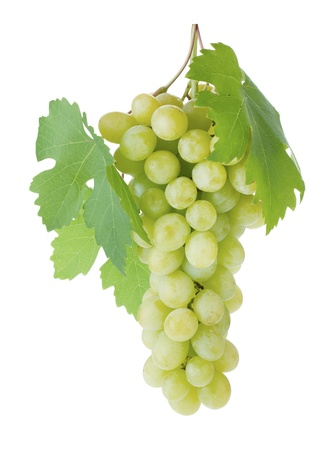 White grapes with leaves. Isolated on white background Stock Photo