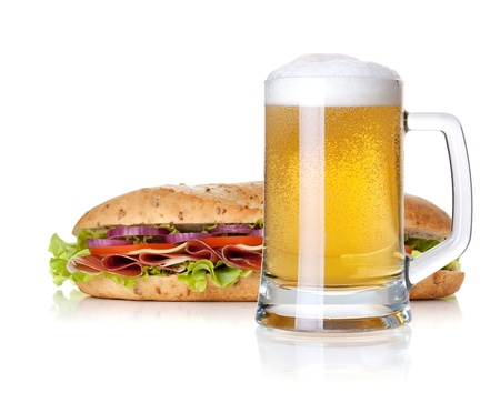 Cold lager beer glass and long sandwich. Isolated on white background