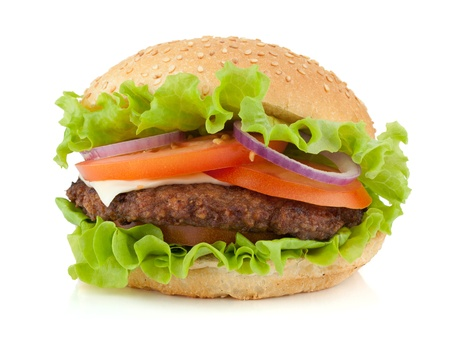 Fresh burger. Isolated on white background photo