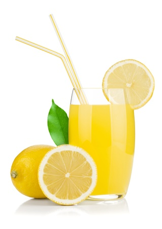 Lemon juice glass and fresh lemons. Isolated on white background photo