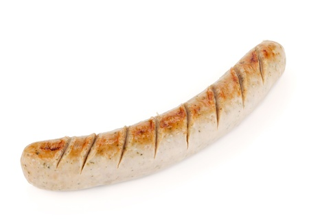 Grilled sausage. Isolated on white background photo