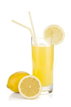 Lemon juice glass and fresh lemons. Isolated on white background
