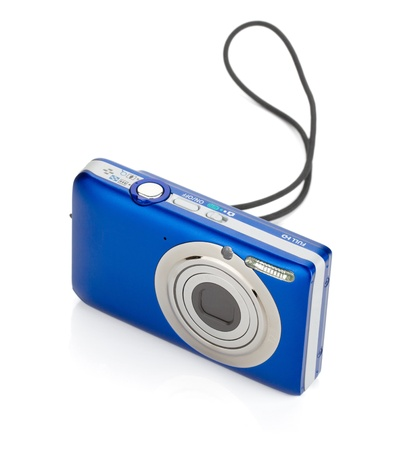 megapixel: Blue compact camera. Isolated on white background