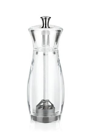 pepper grinder: Empty pepper and salt shaker. Isolated on white background