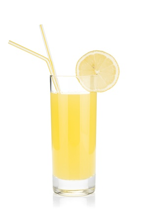 Lemon juice glass and two drinking straw. Isolated on white background photo