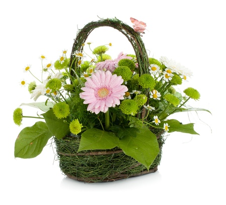 Bouquet of flowers in basket and butterfly. Isolated on white background Stock Photo