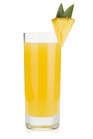 Pineapple juice in a glass. Isolated on white background Stock Photo - 13202604