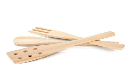 Wooden cooking utensils. Isolated over white background Stock Photo - 13202587