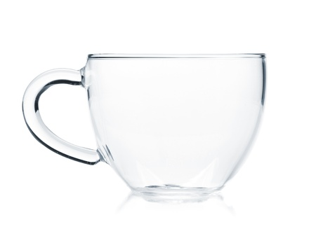 Empty glass tea cup. Isolated on white background photo