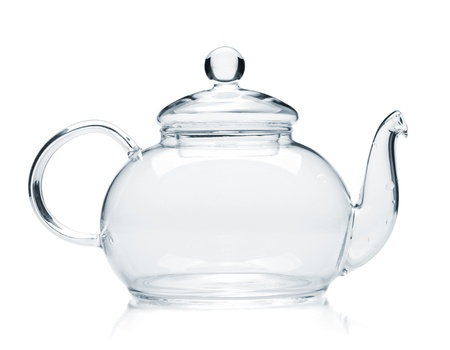 Empty glass teapot. Isolated on white background photo