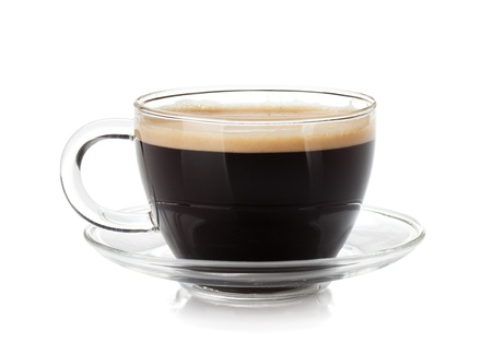 coffee froth: Espresso coffee in glass cup. Isolated on white background
