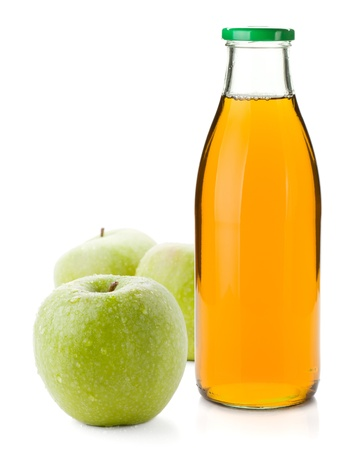 Apple juice in a glass bottle and three ripe apples. Isolated on white background Stock Photo - 13306267