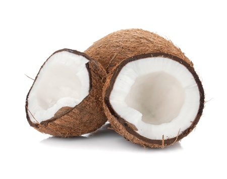 the coconut: De coco. Aislado sobre fondo blanco