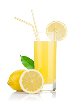slices of lemon: Lemon juice glass and fresh lemons. Isolated on white background Stock Photo