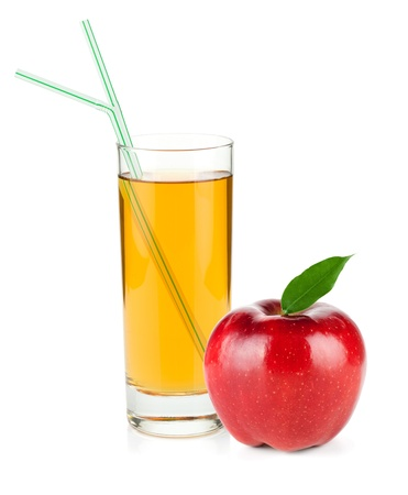Apple juice in a glass and red apple. Isolated on white background Stock Photo - 13618139