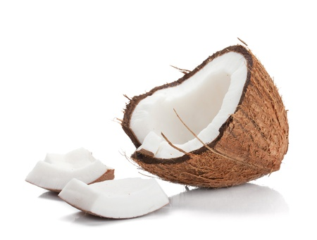 coconut milk: Coconut. Isolated on white background