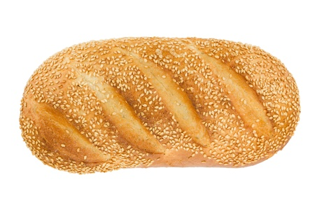 crust crusty: White bread with sesame  View from above  Isolated on white background