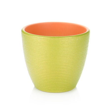 Green flowerpot. Isolated on white background photo