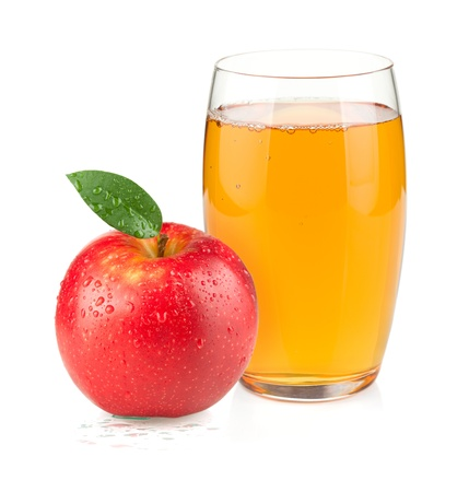 Apple juice in a glass and red apple. Isolated on white background