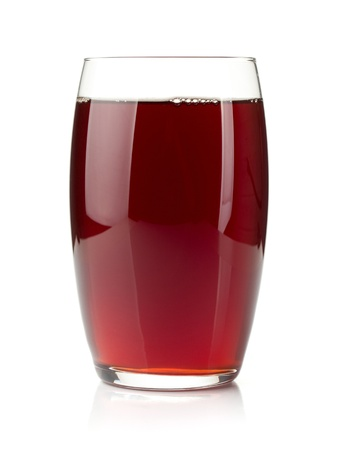grenadine: Pomegranate juice in a glass. Isolated on white background
