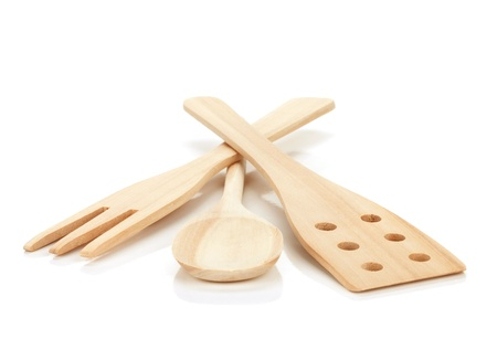 Wooden cooking utensils. Isolated over white background Stock Photo - 14479584