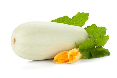 Fresh zucchini fruit with green leaves and flower  Isolated on white background photo