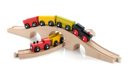 Wooden toy colored train  Isolated on white background photo