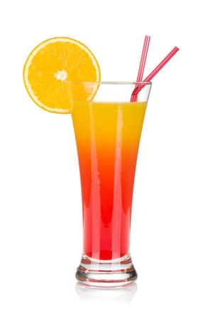 Tequila sunrise cocktail  Isolated on white background Stock Photo
