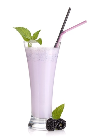 Blackberry milk smoothie with mint and drinking straws. Isolated on white background photo