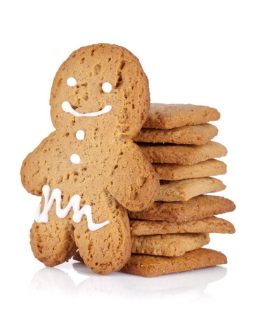 gingerbread man: Gingerbread man and cookies. Isolated on white background
