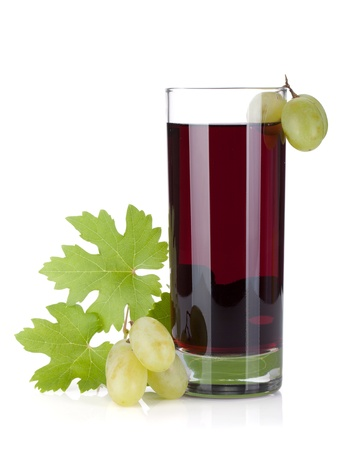 purple red grapes: Glass of grape juice. Isolated on white background Stock Photo