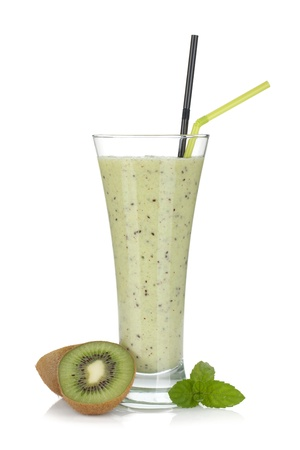 Kiwi milk smoothie with mint. Isolated on white background photo