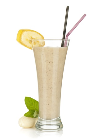 frozen drink: Banana milk smoothie with mint. Isolated on white background