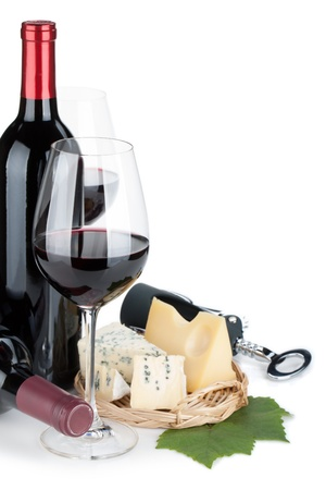 Red wine and cheese. Closeup. Isolated on white background photo