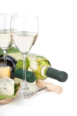 White wine, cheese and grape. Closeup. Isolated on white background photo