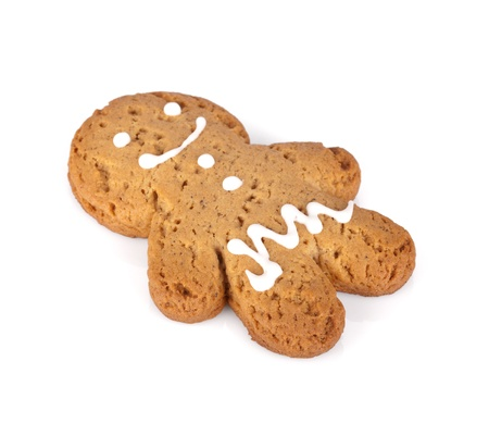 Gingerbread man cookie. Isolated on white background photo