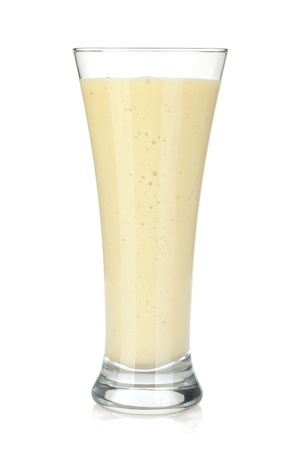 milk shake: Banana milk smoothie. Isolated on white background