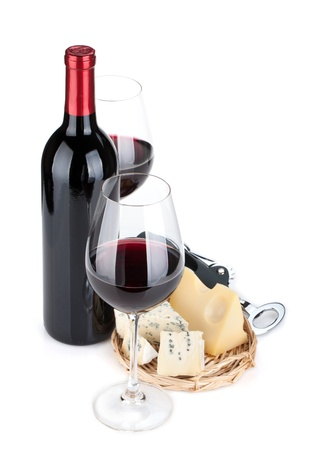 Red wine and cheese. Isolated on white background photo