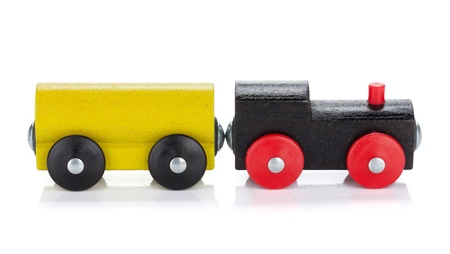 Wooden toy train. Isolated on white background photo