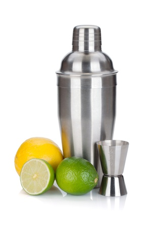 Cocktail shaker with maeasuring cup and citruses  Isolated on white background photo