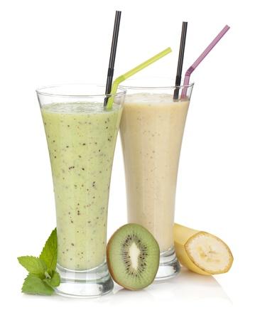 Kiwi and banana milk smoothie. Isolated on white background photo