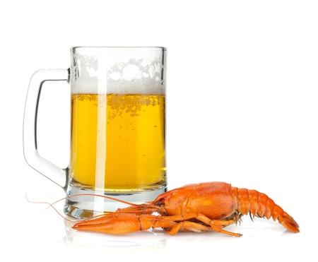 Beer mug and boiled crayfish. Isolated on white background Stock Photo - 15500093