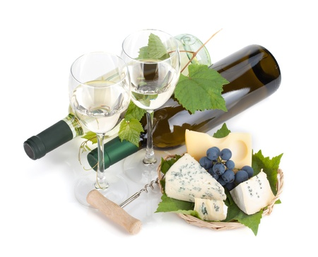 White wine, cheese and grape. Isolated on white background photo