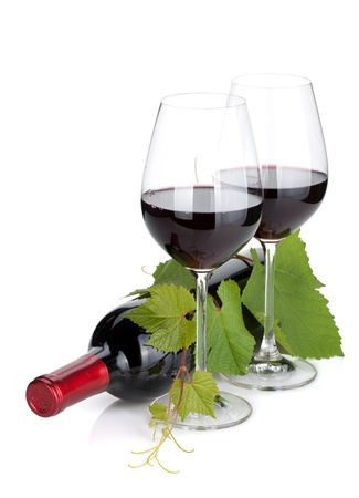 closed corks: Red wine bottle and glasses. Isolated on white background
