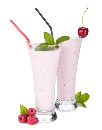 refreshment: Raspberry and cherry milk smoothie with mint  Isolated on white background