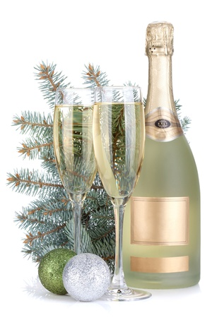 christmas champagne: Champagne glasses, bottle, baubles and fir tree  Isolated on white background Stock Photo
