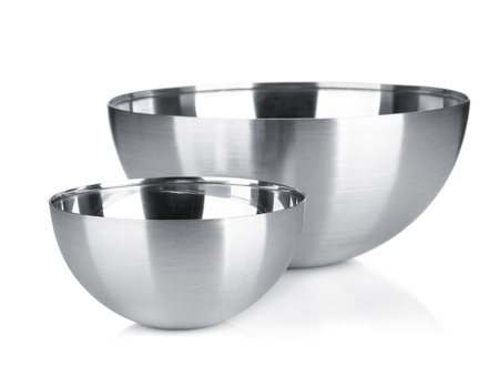 cooking ware: Stainless steel bowl. Isolated on white background Stock Photo