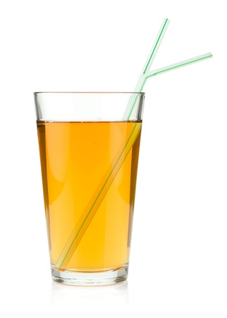 Apple juice in a glass with drinking straws. Isolated on white background Stock Photo - 15390005